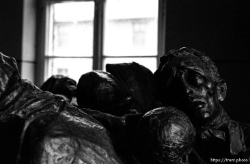 Sculpture of camp victims at the Auschwitz Concentration Camp.