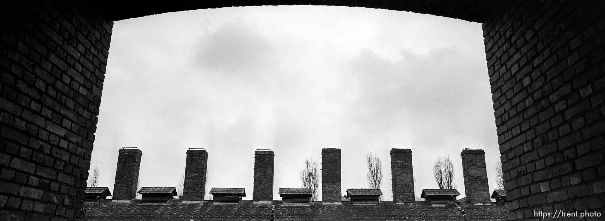 Kitchen chimneys at the Auschwitz Concentration Camp.