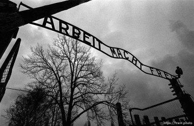 """""""Arbeit Macht Frei"""" sign at the entrance gate to the Auschwitz Concentration Camp."""
