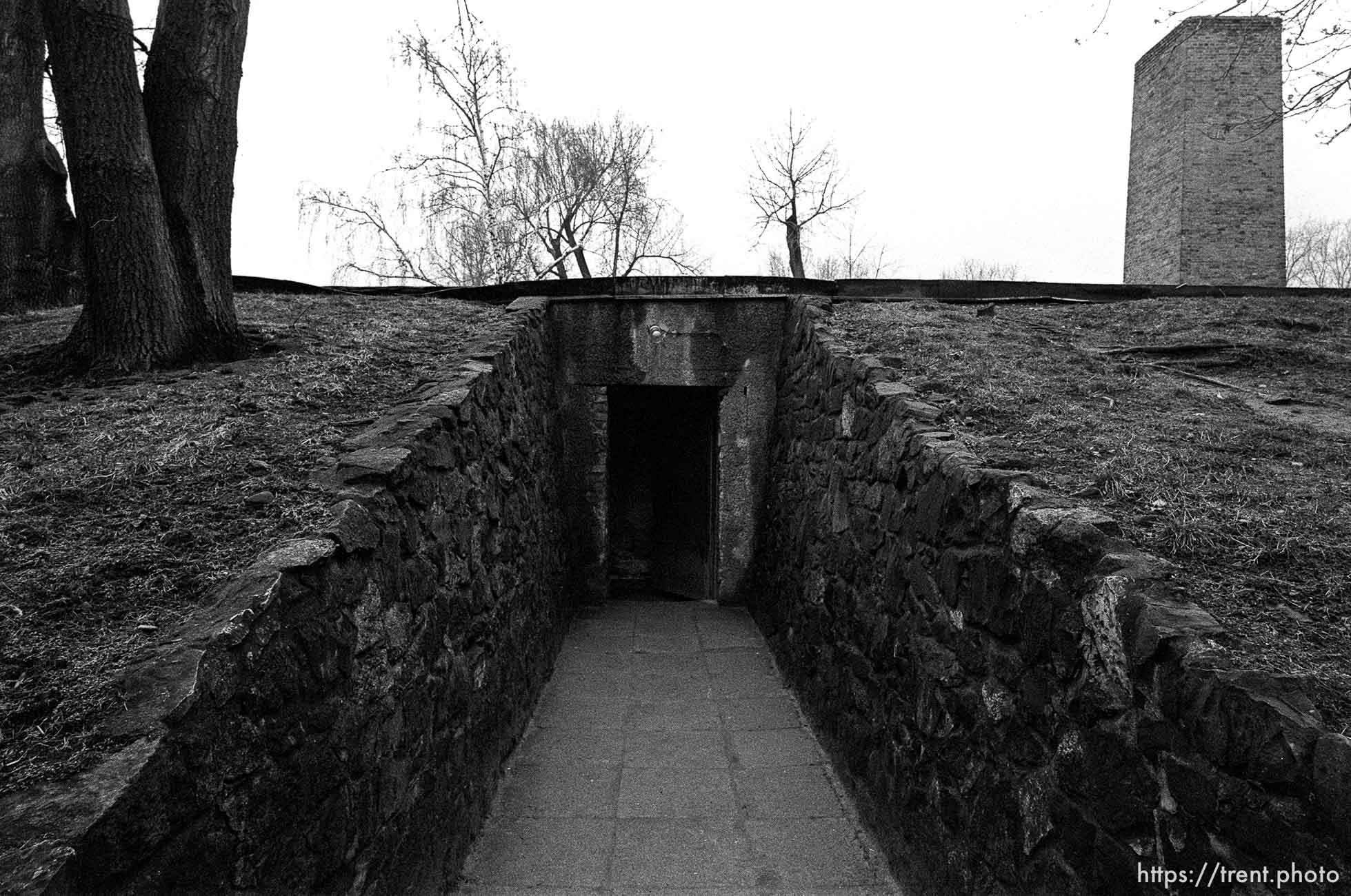 Entrance to the gas chamber at the Auschwitz Concentration Camp.