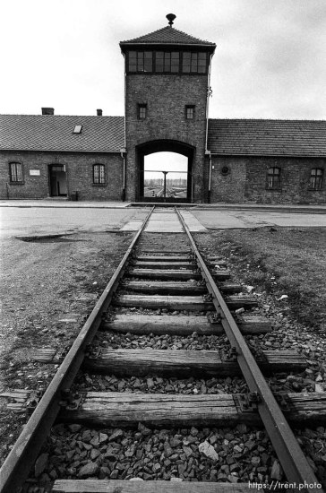 """Rails and the """"Death Gate"""" at the Birkenau Concentration Camp."""