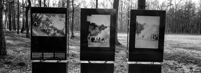 Plaques and field where bodies were burned at the Birkenau Concentration Camp.