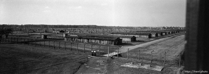"""View from the """"Death Gate"""" guard tower at the Birkenau Concentration Camp."""