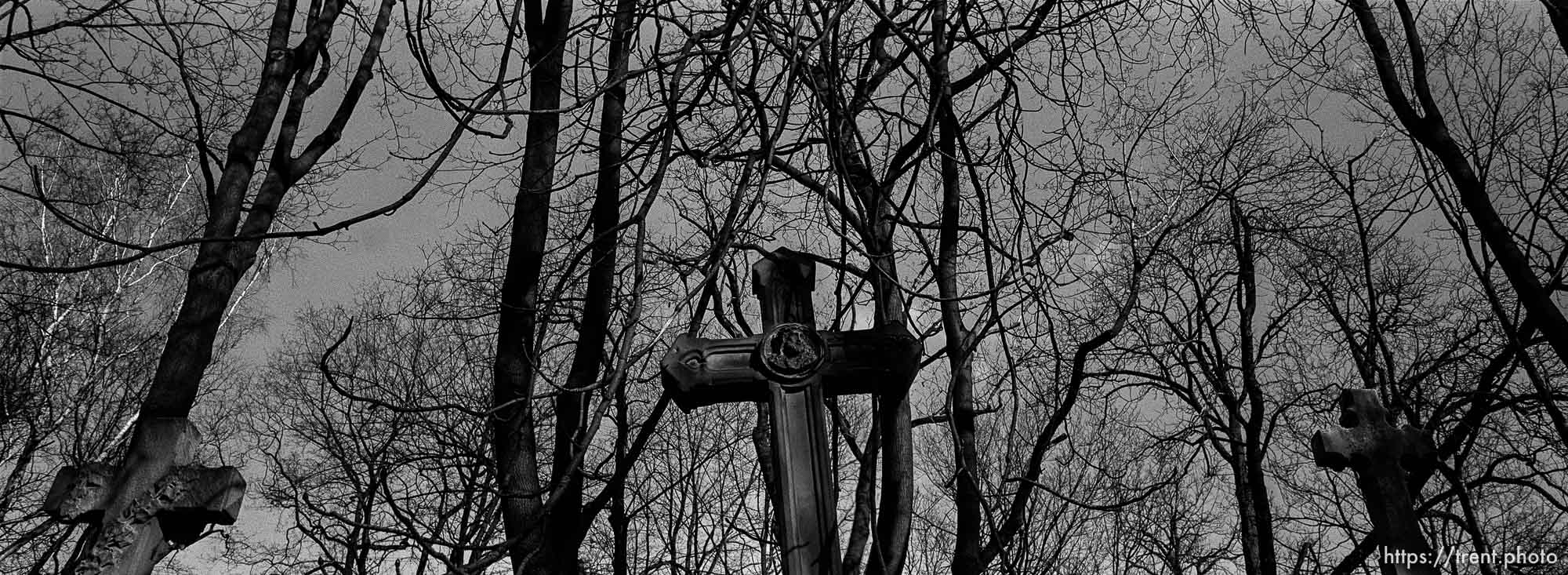 Three crosses in old cemetery