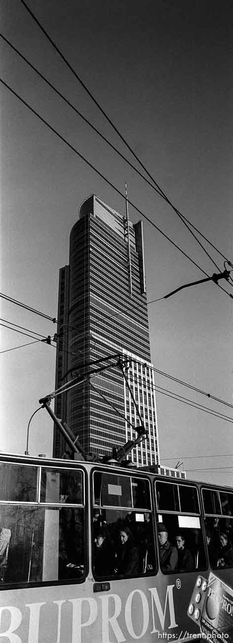 Daewoo tower and tram (tallest building in Poland)