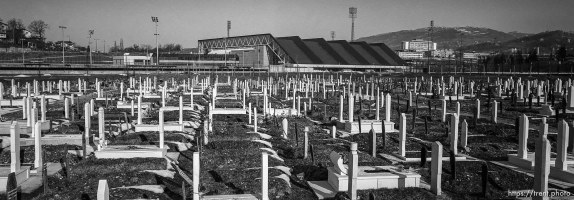 Olympic venue Zetra and the War-time cemetery at football pitch.
