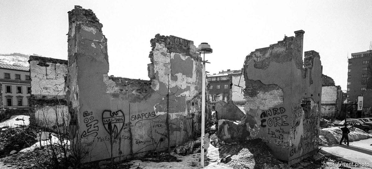 Snapcase graffiti on destroyed building.
