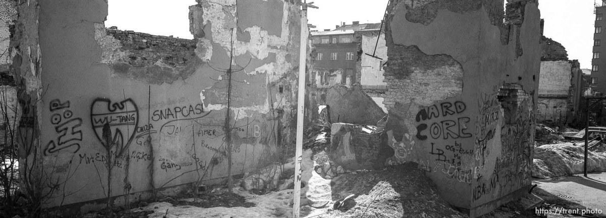 Snapcase graffiti on destroyed building