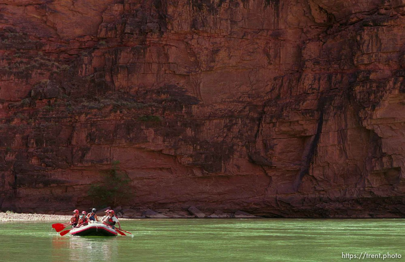 Rafters in a paddle boat on a Native American river trip through Lodore Canyon and Dinosaur National Monument.