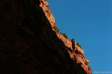 Sunlight on the canyon rim on a Native American river trip through Lodore Canyon and Dinosaur National Monument.