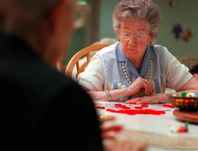 Goldie Bagnell, 93, playing Bingo at Heritage Place, a senior home.