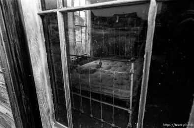 Bedroom window at Bodie State Historic Park, ghost town