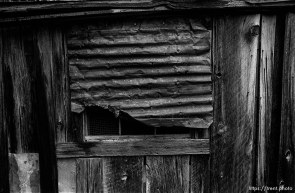 Tin over window at Bodie State Historic Park, ghost town