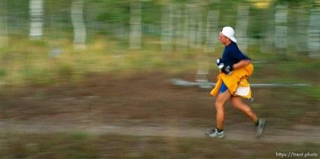 Garett Graubins runs near the Alpine Loop aid station. Wasatch 100 Endurance Run.