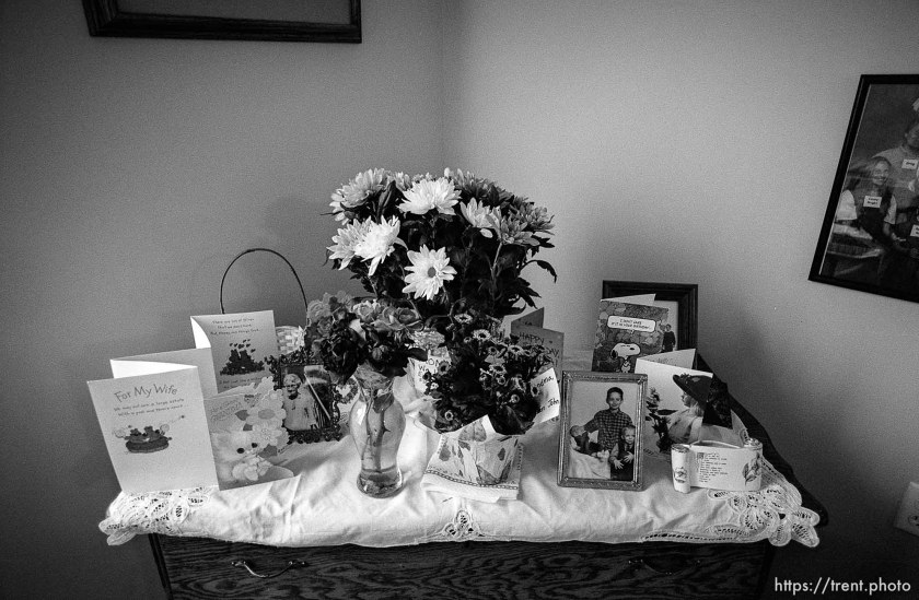 cards in her room. Betty Rae Watts, at her nursing home.