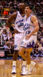 Karl Malone and John Stockton. Jazz host the Philadelphia 76ers Saturday night at the Delta Center. Jazz win. 12.29.2001, 8:03:40 PM