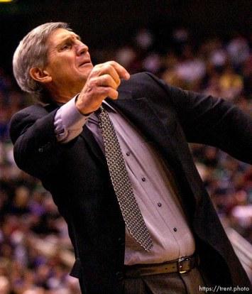 Coach Jerry Sloan. Jazz host the Philadelphia 76ers Saturday night at the Delta Center. Jazz win. 12.29.2001, 9:17:48 PM