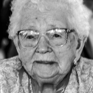 Rhea Barnett, 104, West Jordan. The 16th annual celebration of Utah's Centenarians at the Governor's Mansion. 05.29.2002, 9:49:28 AM