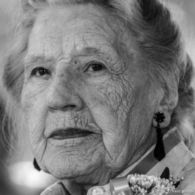 Lucille Condie, 103, SLC. The 16th annual celebration of Utah's Centenarians at the Governor's Mansion. ; 05.29.2002, 9:52:55 AM