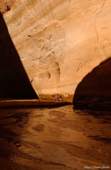 Davis Gulch. Landmarks which had previously been submerged in Glen Canyon are now becoming visible with the lower water levels in Lake Powell.