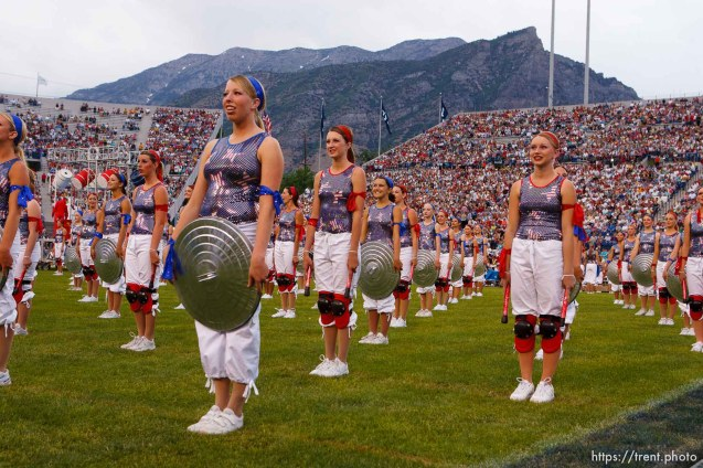 dancers with kneepads and garbage can lids. Stadium of Fire, Saturday night at LaVell Edwards Stadium, Provo.