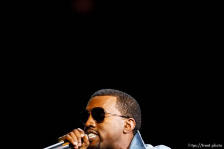 Kanye West performs at the Delta Center.
