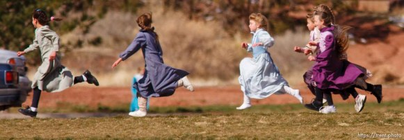 Kids at recess at formerly Phelps Elementary School, now FLDS private school based on former Alta Academy (according to Isaac Wyler), Hildale. polygamy