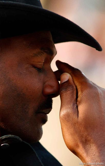 Karl Malone wipes a tear from his eye. Karl Malone statue ceremony at the Delta Center. 3.23.2006