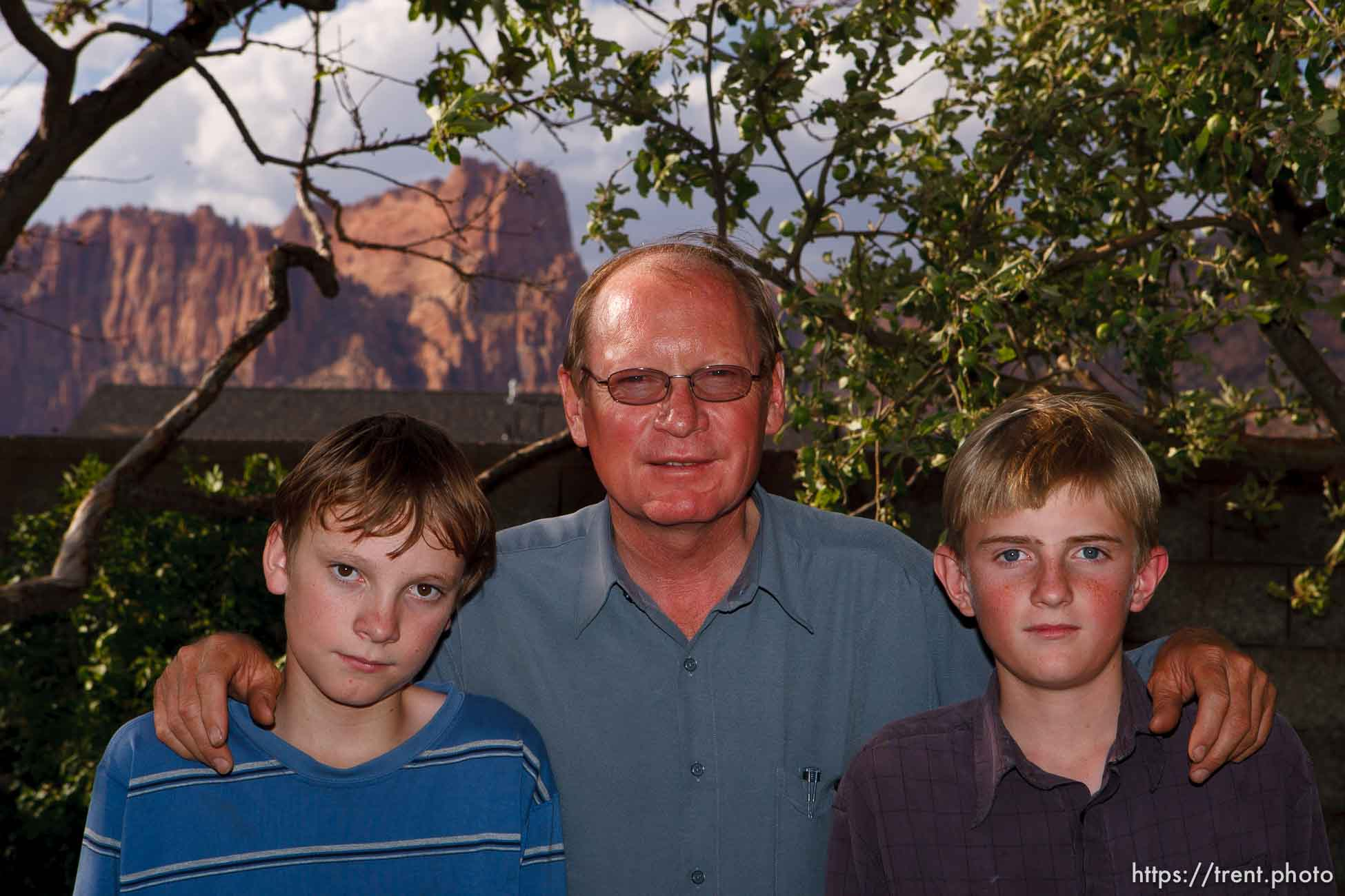 Richard Holm with his children in Colorado City.
