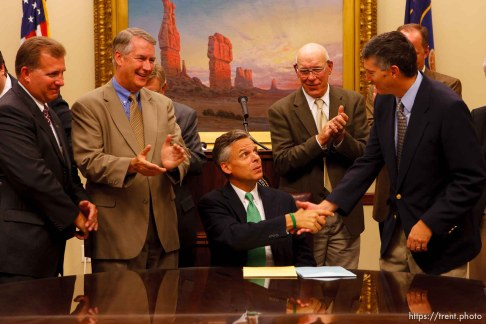 Utah Governor Jon Huntsman press conference to sign new tax bill