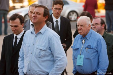 St. George - Supporters of Warren Jeffs wait in line to enter the courthouse. About ten FLDS men sat in the gallery, showing support for Warren Jeffs, who they consider their prophet. Preliminary hearing, Warren Jeffs trial, 5th District Court.