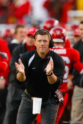 Utah coach kyle whittingham. BYU wins with no time on the clock. Salt Lake City - Utah vs. BYU college football at Rice-Eccles Stadium.
