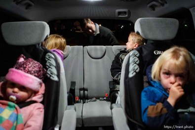Tooele - Joseph Lappi loads his kids into a minivan in the pre-dawn darkness, preparing to take them to school and daycare. Left to right, Sophie, Joesph, Joseph Jr, and Lillian Lappi. . Lappi came back from serving in Iraq to find his wife pregnant with another man's child and himself the sole caretaker for his four children. Oldest to youngest: Joseph Lappi Jr, Daria Lappi , Lillian Lappi , and Sophie Lappi .