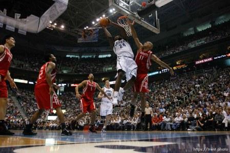 Salt Lake City - Utah Jazz vs. Houston Rockets, game 6, NBA playoffs first round. Utah Jazz forward Paul Millsap (24) shooting, Houston Rockets forward Shane Battier (31) defending.