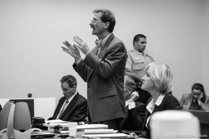 The Warren Jeffs' trial in St. George, Utah. Jeffs, head of the Fundamentalist Church of Jesus Christ of Latter Day Saints, is charged with two counts of rape as an accomplice for allegedly coercing the marriage and rape of a 14-year-old follower to her 19-year-old cousin in 2001.. defense attorney Walter Bugden, defense attorney tara isaacson