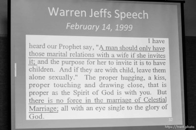 The Warren Jeffs' trial in St. George, Utah. Jeffs, head of the Fundamentalist Church of Jesus Christ of Latter Day Saints, is charged with two counts of rape as an accomplice for allegedly coercing the marriage and rape of a 14-year-old follower to her 19-year-old cousin in 2001.