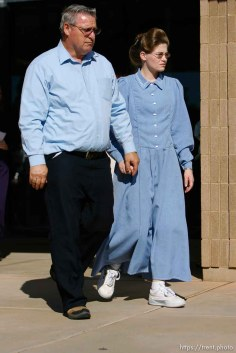 The Warren Jeffs' trial in St. George, Utah. Jeffs, head of the Fundamentalist Church of Jesus Christ of Latter Day Saints, is charged with two counts of rape as an accomplice for allegedly coercing the marriage and rape of a 14-year-old follower to her 19-year-old cousin in 2001.. apparent followers of warren jeffs' flds church, Defense witness Charlotte Jessop (right)
