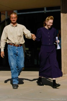 The Warren Jeffs' trial in St. George, Utah. Jeffs, head of the Fundamentalist Church of Jesus Christ of Latter Day Saints, is charged with two counts of rape as an accomplice for allegedly coercing the marriage and rape of a 14-year-old follower to her 19-year-old cousin in 2001.. apparent followers of warren jeffs' flds church, Defense witnesses Merril Shapley and Christine Shapley