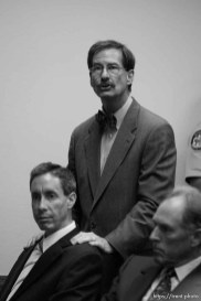 The Warren Jeffs' trial in St. George, Utah. Jeffs, head of the Fundamentalist Church of Jesus Christ of Latter Day Saints, is charged with two counts of rape as an accomplice for allegedly coercing the marriage and rape of a 14-year-old follower to her 19-year-old cousin in 2001.. defense attorney Walter Bugden. defense attorney Richard Wright