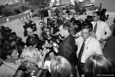 The Warren Jeffs' trial in St. George, Utah. Jeffs, head of the Fundamentalist Church of Jesus Christ of Latter Day Saints, is charged with two counts of rape as an accomplice for allegedly coercing the marriage and rape of a 14-year-old follower to her 19-year-old cousin in 2001. victim's attorney greg hoole speaks to reporters