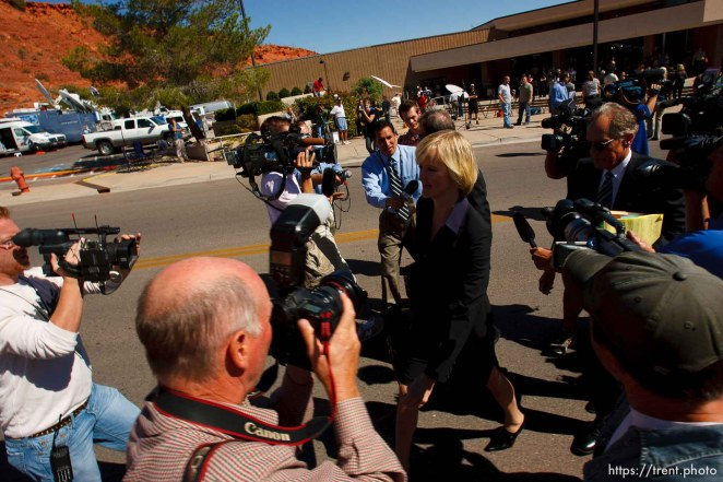 St. George - Warren Jeffs trial. The polygamous sect leader was charged with two counts of rape as an accomplice stemming from a marriage he officiated involving a 14-year-old girl and her 19-year-old cousin. defense attorneys tara isaacson, walter bugden, richard wright leave the court after guilty verdict. tom smart