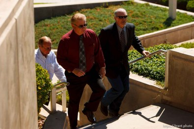 St. George - Warren Jeffs trial. The polygamous sect leader was charged with two counts of rape as an accomplice stemming from a marriage he officiated involving a 14-year-old girl and her 19-year-old cousin. gary engels, richard holm, sam brower