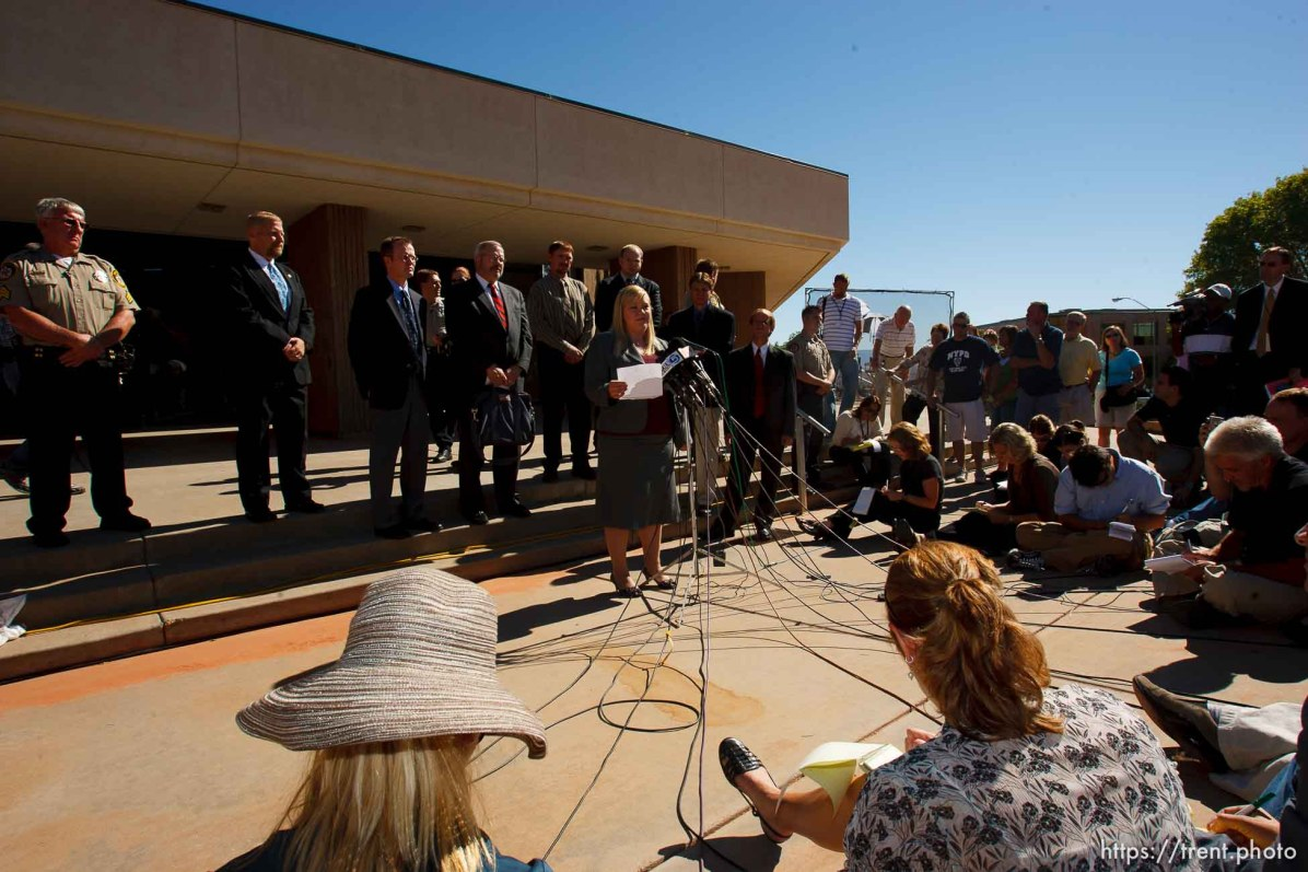 St. George - Warren Jeffs trial. The polygamous sect leader was charged with two counts of rape as an accomplice stemming from a marriage he officiated involving a 14-year-old girl and her 19-year-old cousin. jane doe (the victim) makes a statement. Elissa Wall