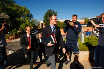St. George - Warren Jeffs trial. The polygamous sect leader was charged with two counts of rape as an accomplice stemming from a marriage he officiated involving a 14-year-old girl and her 19-year-old cousin. ryan shaum, brian filter, brock belnap