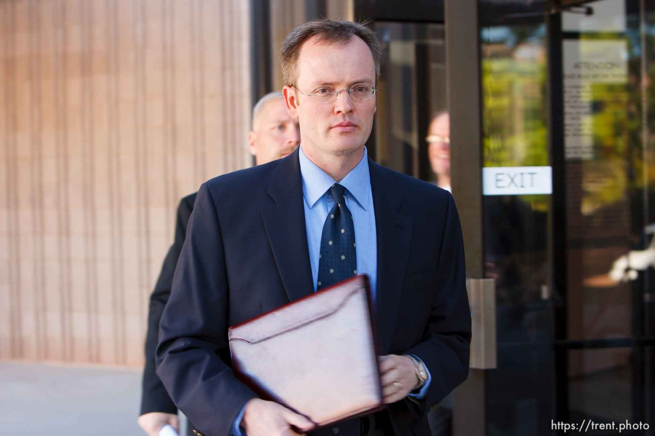 St. George - Warren Jeffs trial. The polygamous sect leader was charged with two counts of rape as an accomplice stemming from a marriage he officiated involving a 14-year-old girl and her 19-year-old cousin. brock belnap
