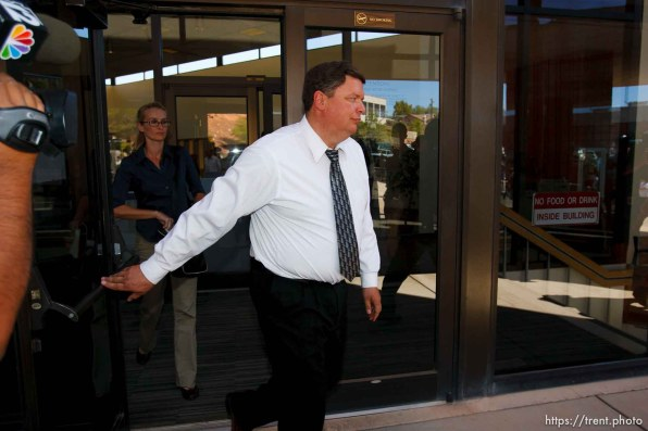St. George - Warren Jeffs trial. The polygamous sect leader was charged with two counts of rape as an accomplice stemming from a marriage he officiated involving a 14-year-old girl and her 19-year-old cousin. flds supporters of warren jeffs