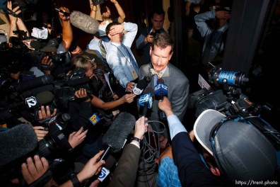 Warren Jeffs attorney Walter Bugden and media. St. George - Polygamous sect leader Warren Jeffs was sentenced Tuesday, November 20, 2007 after being found guilty on two counts of rape as an accomplice, in St. George, Utah. Jeffs, head of the Fundamentalist Church of Jesus Christ of Latter Day Saints, was found guilty of two counts of rape as an accomplice for allegedly coercing the marriage and rape of a 14-year-old follower to her 19-year-old cousin in 2001. ; 11.20.2007