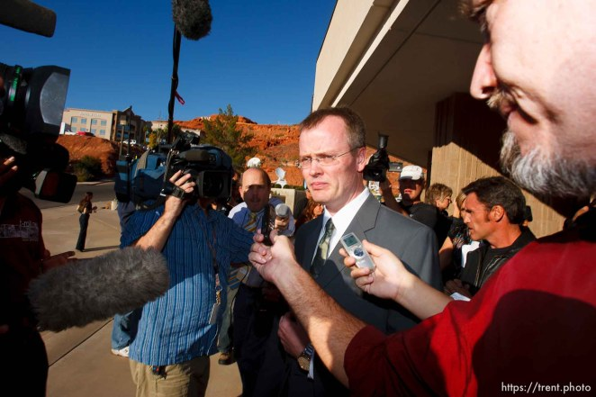 Washington County Attorney Brock Belnap and media. St. George - Polygamous sect leader Warren Jeffs was sentenced Tuesday, November 20, 2007 after being found guilty on two counts of rape as an accomplice, in St. George, Utah. Jeffs, head of the Fundamentalist Church of Jesus Christ of Latter Day Saints, was found guilty of two counts of rape as an accomplice for allegedly coercing the marriage and rape of a 14-year-old follower to her 19-year-old cousin in 2001. ; 11.20.2007