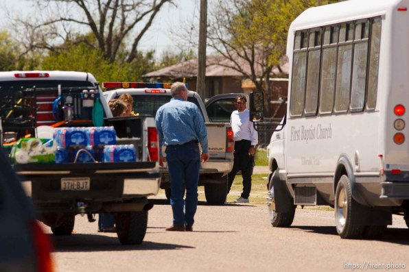 """Eldorado - First Baptist Church bus during raid on the FLDS YFZ """"Yearning for Zion"""" compound outside of Eldorado, Texas, Saturday, April 5, 2008. CPS volunteers and law enforcement"""