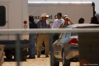 """Eldorado - First Baptist Church bus arriving at civic center during raid on the FLDS YFZ """"Yearning for Zion"""" compound outside of Eldorado, Texas, Saturday, April 5, 2008. CPS volunteers and law enforcement"""